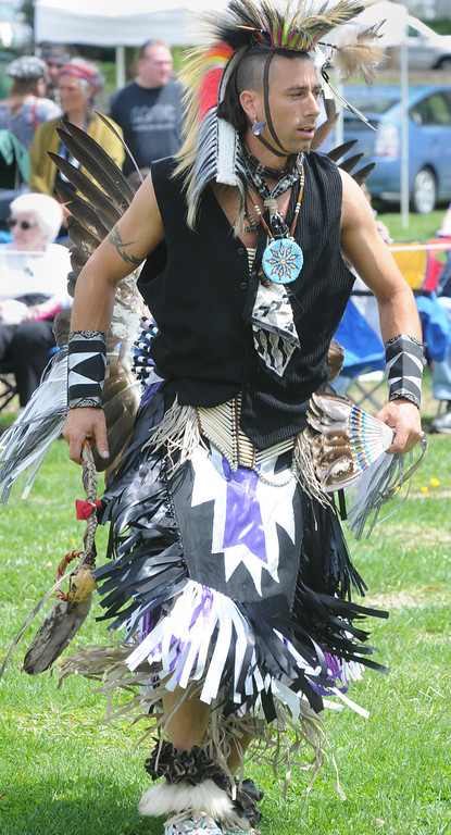 Description of . Jeff Stevens of the Seneca nation dancing in Northern plains style. Photo by John Strickler/The Mercury