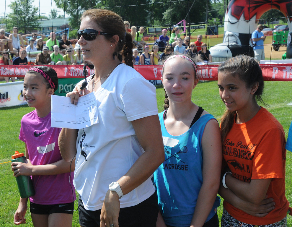 Description of . Misty May-Treanor speaks to participants of the Dream in Gold Clinic. (Photo by John Strickler/The Mercury)
