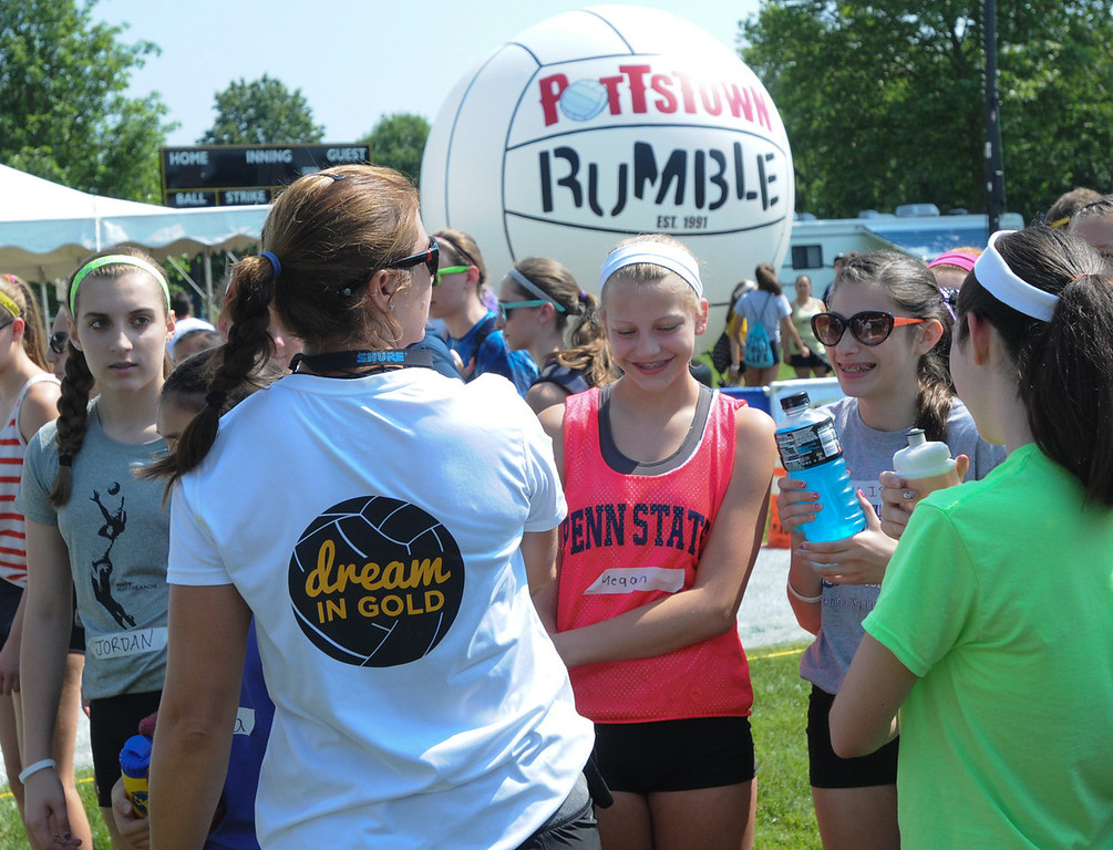 Description of . Dream in Gold Clinic participants chat with Misty May-Treanor. (Photo by John Strickler/The Mercury)