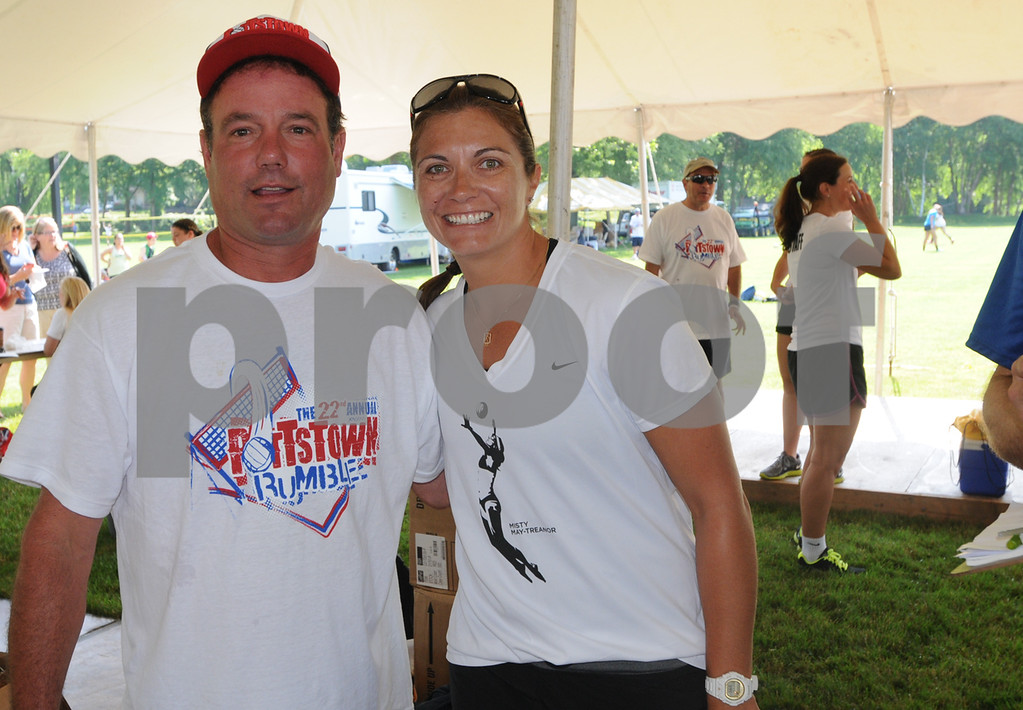 Description of . Pottstown Rumble founder Ken Kass with Misty May-Treanor. (Photo by John Strickler/The Mercury)