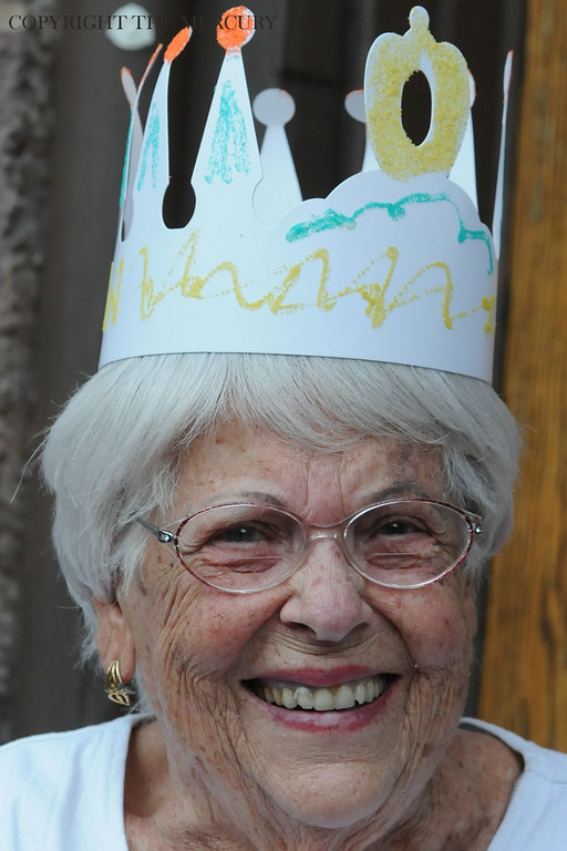 Description of . Elaine Huss wears a crown that she made at Trinity U.C.C. at Hanover and King St. enjoying the National Night Out events in Pottstown. Photo by John Strickler The Mercury