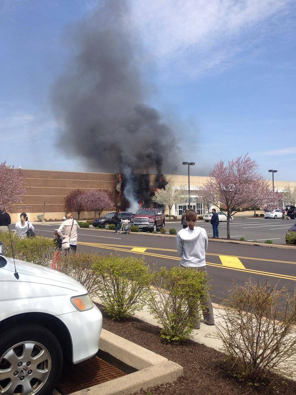 Description of . Fire damages the front of the Kohl's Department Store off Township Line Road in Limerick Friday, April 25, 2014. (Photo Maria Cioci)