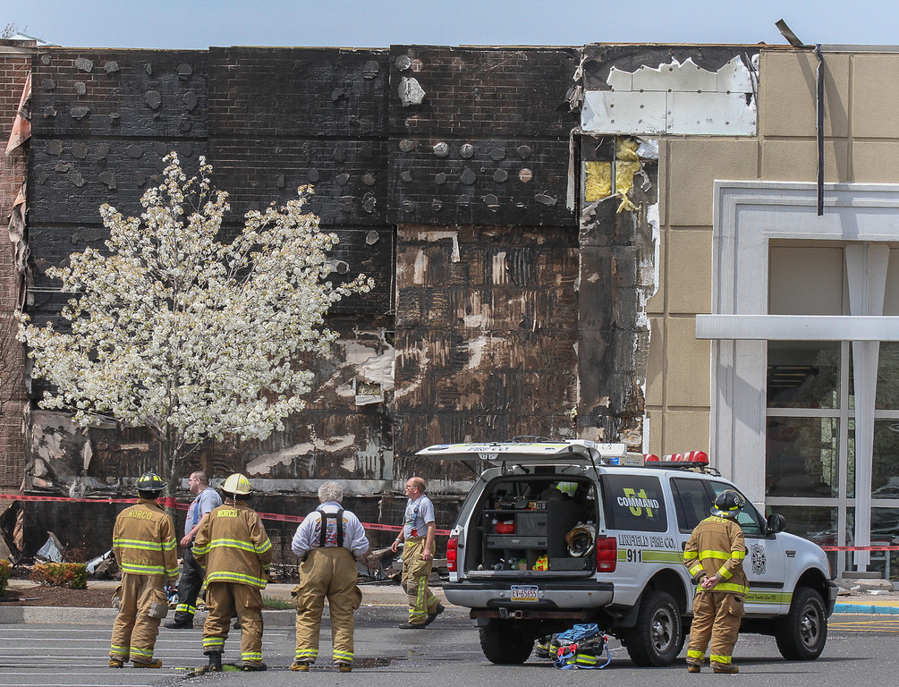 . Front of Kohl\'s store in Royersford suffered extensive fire damage possibly from a mulch fire started by a cigarette. Photo by Kevin Hoffman, The Mercury