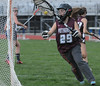 Pottsgrove goalie #29 makes a good save on a shot and moves ball back out to teammates in first half action. Photo by John Strickler/The Mercury