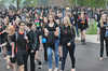 Perkiomen Valley High School students walk out of classes Friday morning to protest the elimination of teaching positions at the school. The high school students made their way to the baseball field and peacefully protested. Photo by John Strickler/The Mercury
