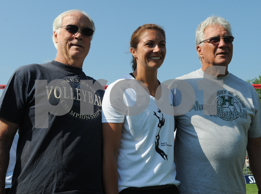 . Irv Adams, Misty May-Treanor and Butch May at the Dream in Gold Clinic. (Photo by John Strickler/The Mercury)