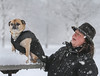 Paula Richard and her dog 'Avery' sported their winter coats during a walk at Memorial Park in the morning snowfall.<br /> Photo by Kevin Hoffman, The Mercury