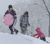 Children enjoyed a day off school to play in the fresh fallen snow.<br /> Photo by Kevin Hoffman, The Mercury