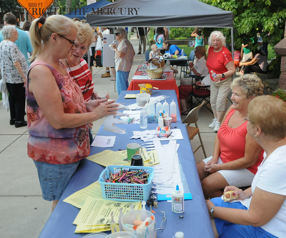 . National Night Out at Trinity U.C.C. in Pottstown had neighbors outdoors Tuesday evening. Photo by John Strickler The Mercury