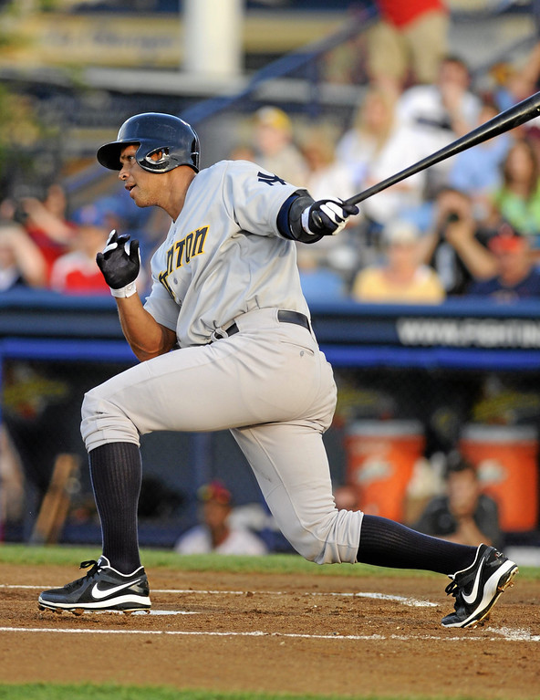 . New York Yankees\' Alex Rodriguez grounds out in the first inning of a Class AA baseball game with the Trenton Thunder against the Reading Phillies, Monday, July 15, 2013, in Reading, Pa. Rodriguez is doing a rehab assignment with the Thunder recuperating from hip surgery. (AP Photo/Bradley C Bower)