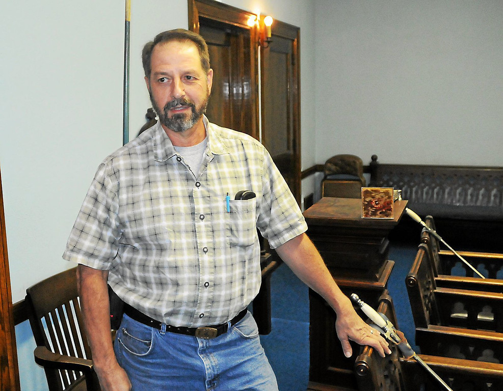 . C. David Hollenbach, a past master with the Masonic Lodge of Pottstown, talks about the upcoming \'Temple of Terror\' haunted house that will be held inside the Stichter Lodge at 20 N. Franklin St. The Mercury is only giving a small sneak peak inside the lodge so that the haunted house remains a mystery for those who visit. (Photo by John Strickler/The Mercury)